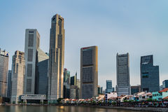 Boat Quay, a historical district in Singapore and Financial buil Royalty Free Stock Image