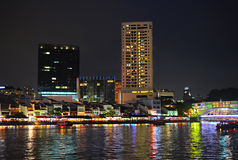 Boat quay at night, Singapore Stock Images
