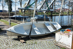 Boat on the quay, ready for lifting into the water Royalty Free Stock Photography