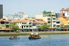 Boat Quay at Singapore River Royalty Free Stock Photo