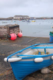 Boat on quayside. Blue boat on quayside at hugh town, isles of scilly Royalty Free Stock Photography