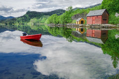 Boat in a Quiet Cove Royalty Free Stock Photos