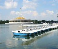Boat in quiet lake in public park in Suan Luang Phra Ram IX    Bangkok Royalty Free Stock Image