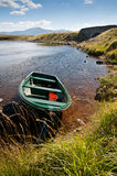 Boat on quiet scottish lake Stock Photography