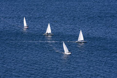 Boat race. Sport competition at the open sea Royalty Free Stock Photography