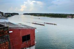 Boat Racing at Narathiwat, Thailand. Boat Racing festival in Bang Nara river at Narathiwat, Thailand Stock Photos