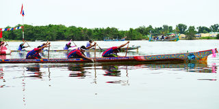 Boat Racing at Narathiwat, Thailand. NARATHIWAT, THAILAND - SEPTEMBER 24: Traditional Boat Racing in Bang Nara River SEPTEMBER 24, 2016 in Narathiwat. Boat Stock Image
