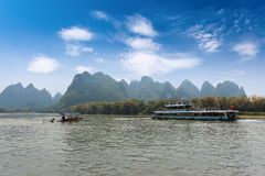 Boat and raft in guilin Royalty Free Stock Photography