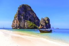 Boat on Railay beach Royalty Free Stock Image