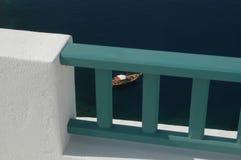 Boat through railing royalty free stock photography
