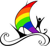 Boat with rainbow sail Stock Photography