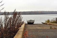 Boat on Ramp. Boat placed up onto Boat Ramp Royalty Free Stock Image