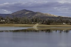Boat Ramp at Lon Hagler Reservoir Loveland Colorado. On a winters day with the foothills in the background royalty free stock image