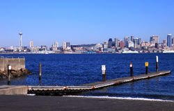 Boat ramp and skyline, Seattle WA. Stock Images