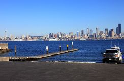 Boat ramp and skyline, Seattle Washington. Royalty Free Stock Photography