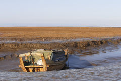 The boat ran aground in the trench Royalty Free Stock Photography