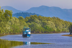 Boat in ranong river southern of thailand Royalty Free Stock Photos