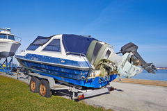 Boat ready to transport for repairs Royalty Free Stock Image