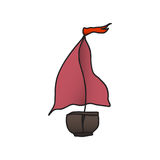 Boat with a red sail. vector illustration. Drawing by hand. Royalty Free Stock Image