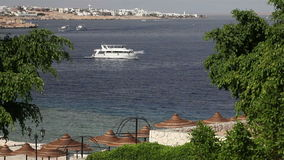 Boat in the red sea.  Egypt, the area of Sharks Bay (Sharm El Sheikh) Royalty Free Stock Photo