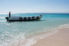 A boat on the Red Sea in Egypt. Stock Photo