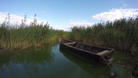 Boat between reeds, time lapse 4K stock video