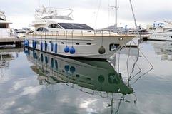 Boat Reflection-Yacht Sailing Glassy Sea Stock Image