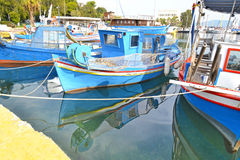 Boat reflection at the port of Eleusis Greece Royalty Free Stock Images