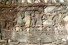 Boat relief at Angkor Wat. Relief on the wall in the temple of Angkor Wat Royalty Free Stock Photo