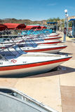 Boat Rental Fleet at Dock Stock Image