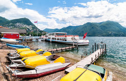 Boat Rentals in the harbor of Lugano Royalty Free Stock Photography