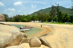 Boat rentals in the park World's end, China, Hainan. Sania Royalty Free Stock Image