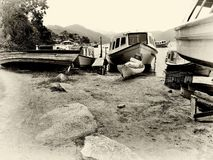 The boat repair at Lagoa Florianopolis royalty free stock photography