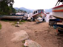 The boat repair at Lagoa Florianopolis stock photography