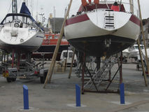 Boat repair in Normandy France Royalty Free Stock Photo
