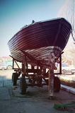 Boat Repair. Old boat in the repair of the yacht club Royalty Free Stock Photos