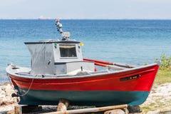 Boat repair at Thassos Stock Image