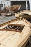 Boat reparation restoration of an old wooden boat at Houmt Souk, Tunisia Royalty Free Stock Photo