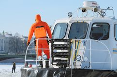 The boat rescue service of Russia. Saint-Petersburg.Russia.March.4.2018.The boat rescue service of Russia.The boat can work in hard-to-reach places.It can move Stock Photography