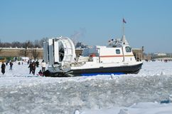 The boat rescue service of Russia. Saint-Petersburg.Russia.March.4.2018.The boat rescue service of Russia.The boat can work in hard-to-reach places.It can move Royalty Free Stock Photo