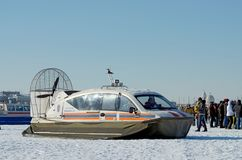 The boat rescue service of Russia. Saint-Petersburg.Russia.March.4.2018.The boat rescue service of Russia.The boat can work in hard-to-reach places.It can move Stock Photo