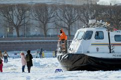 The boat rescue service of Russia. Saint-Petersburg.Russia.March.4.2018.The boat rescue service of Russia.The boat can work in hard-to-reach places.It can move Royalty Free Stock Photos