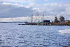 Boat Rescue Station at Beloyarsky Reservoir in spring. Boat Rescue Station at Beloyarsky Reservoir, near Zarechny, Sverdlovsk Region, Ural Federal District Royalty Free Stock Images
