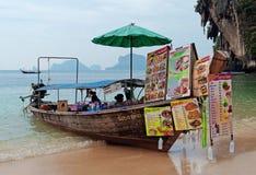 Boat restaurant on the Railay beach Stock Photography