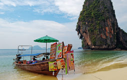 Boat restaurant on the Railay beach Stock Photography