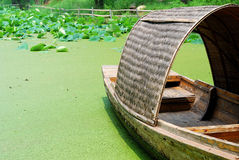 Boat resting on a pond full of lotus Stock Photos