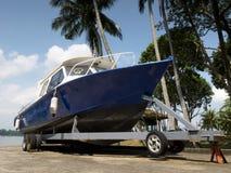 Boat resting on trailer Stock Image