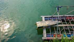 Boat Rests on Mekong River. Boat on the shore of the Mekong in Don Det, Laos. 4,000 Islands Stock Images