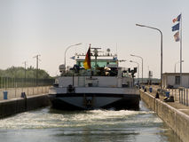 Boat on rhine. Germany/france Stock Images