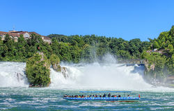 Boat at the Rhine Falls Royalty Free Stock Photos